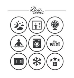 hotel apartment service icons wifi internet vector image