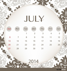 2014 calendar vintage calendar template for july vector
