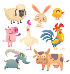 collection of cartoon farm animals vector image