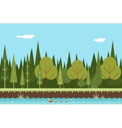 Seamless wood river nature concept flat design vector