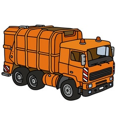 Orange dustcart vector
