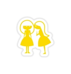 Icon sticker realistic design on paper girlfriend vector