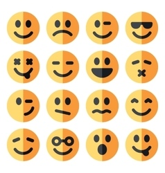 Flat emotional emoji square faces icon vector