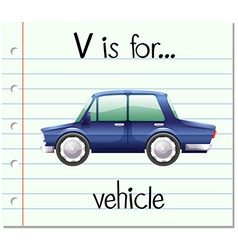 Flashcard letter v is for vehicle vector