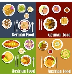 Austrian and german cuisine dishes vector