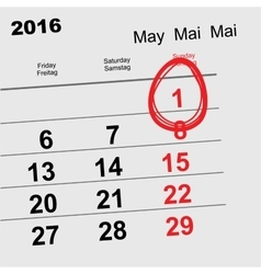May 1 2016 orthodox easter calendar egg vector