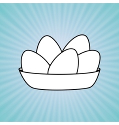 Eggs in dish design vector