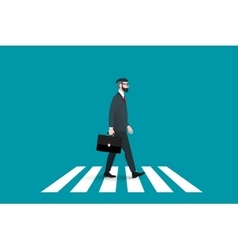 Trendy nerd hipster pedestrian crossing vector