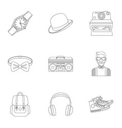 A set of icons about the style of a hipster a vector