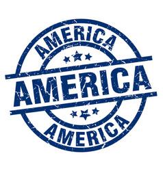 America blue round grunge stamp vector