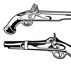Antique pistols vector