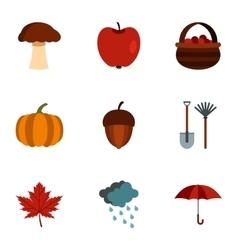Autumn icons set flat style vector