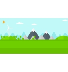 Background of mountains with wind turbine vector