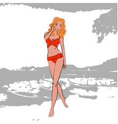 beautiful and sexy young women in trendy red vector image