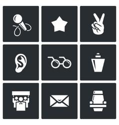Blind listening songs artist icons set vector