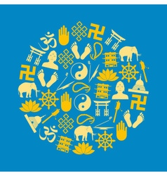 Buddhism religions symbols set of icons in circle vector