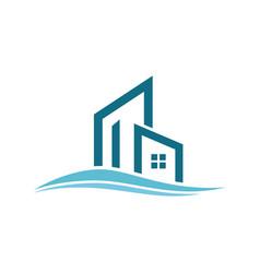 Building wave logo vector