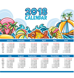 calendar 2018 year starts sunday vector image