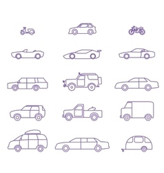 Car types outline icons set vector