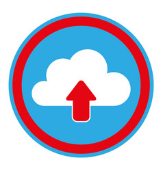 Color circular emblem with cloud upload service vector