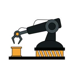 Color image cartoon industrial mechanical robot vector