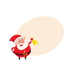 Cute and funny Santa Claus ringing golden vector image vector image