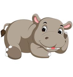 cute hippo cartoon vector image vector image