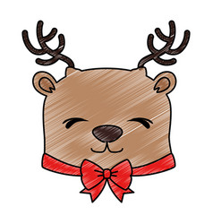 cute reindeer christmas character vector image vector image