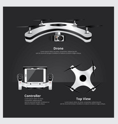 Drone with controller and camera vector