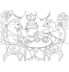 Family of badgers in their house in the kitchen vector