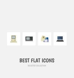 Flat icon laptop set of computing vintage vector