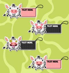 Four cute cartoon Zebras stickers vector image vector image