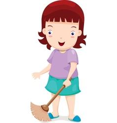 Girl sweeping vector image