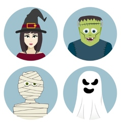 Halloween character set witch mummy ghost vector