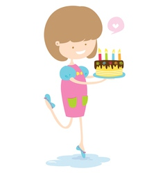 Happy girl with delicious cake vector