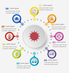 Infographic template with summer icons vector