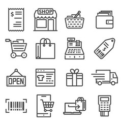 line shopping and retail icons set vector image vector image