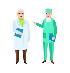 Male doctors therapist and surgeon medical staff vector