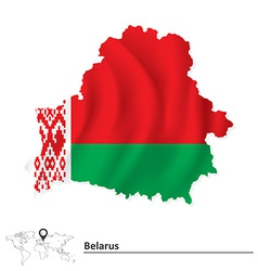 Map of belarus with flag vector