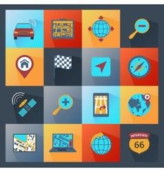 Navigation icons flat vector