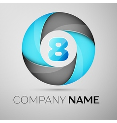 Number eight logo symbol in the colorful circle vector