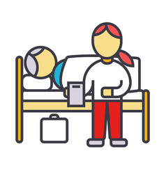 nursery doctor with patient in hospital clinic vector image