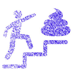 Person climb shit stairs icon grunge watermark vector