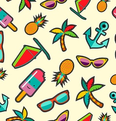 Seamless pattern with cartoon summer designs vector