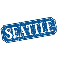 Seattle blue square grunge retro style sign vector