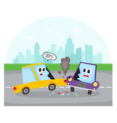 Side collision of car characters on city street vector