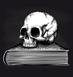 Skull on book sketch on blackboard vector
