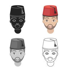 Turkish man icon in cartoon style isolated on vector