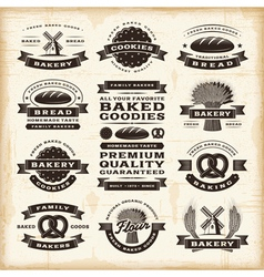 Vintage bakery labels set vector image vector image