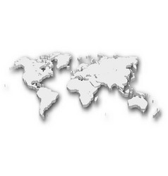 white 3d map of world with shadow isolated on vector image vector image